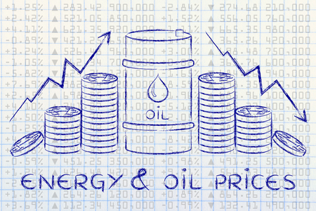 energy & oil prices: barrel and coins, with rate arrows and stock exchange background