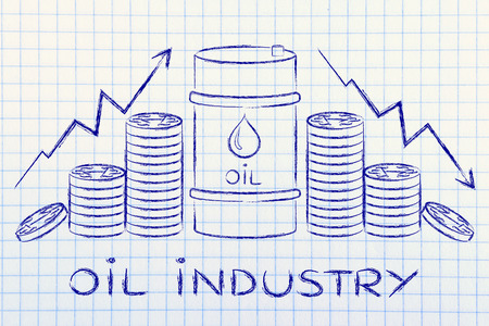barell: oil industry: barrel and coins, with price rate arrows