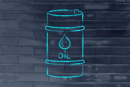 barell: barrel of oil, flat outline illustration