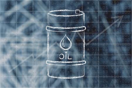 baril de pétrole sur la bourse performance de l'indice de fond, illustration plat Ouline