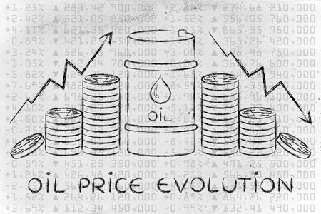 oil prices evolution: barrel and coins, with price rate arrows