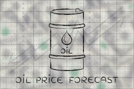 Prévisions des prix du pétrole: le baril au cours bourse performance de l'indice de fond Banque d'images