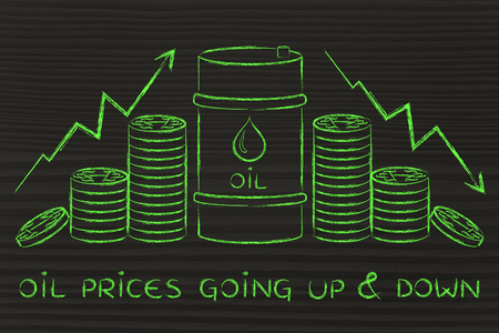oil prices going up & down: barrel and coins, with price rate arrows