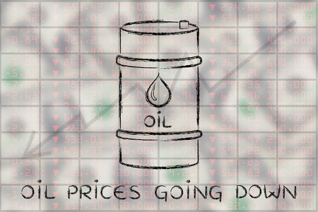 petroluem: oil prices going down: barrel over stock exchange index performance background Stock Photo