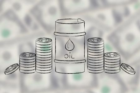 baril de pétrole et des pièces de monnaie, plat illustration ourline