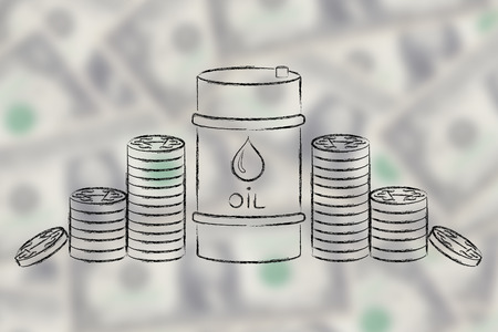 petroluem: barrel of oil and coins, flat ourline illustration Stock Photo