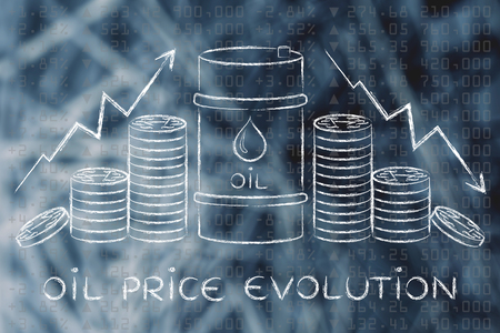 barell: oil prices evolution: barrel and coins, with price rate arrows