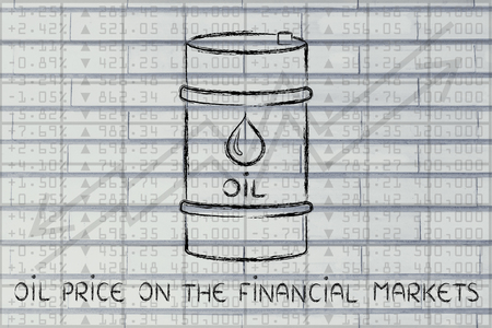 petroluem: oil price on the financial markets: barrel over stock exchange index performance background Stock Photo