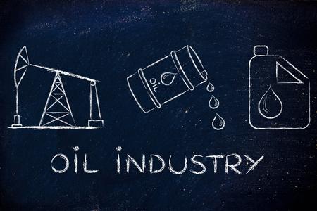 petroluem: oil industry: pump jack, barrel and tank, flat outline illustration Stock Photo