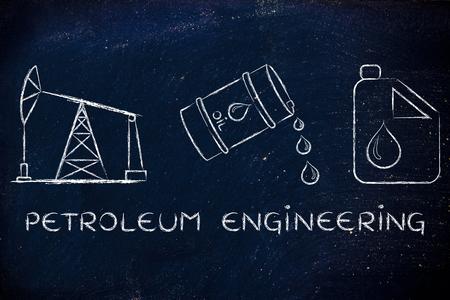 pump jack: petroleum engineering: pump jack, barrel and tank, flat outline illustration Stock Photo