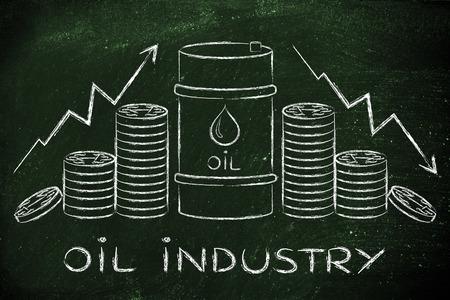 industrie pétrolière: le baril et des pièces de monnaie, avec des flèches de taux de prix