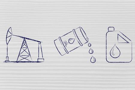 prise de la pompe, le baril de pétrole et du réservoir, plat contour illustration