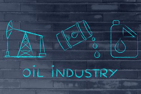 pump jack: oil industry: pump jack, barrel and tank, flat outline illustration Stock Photo