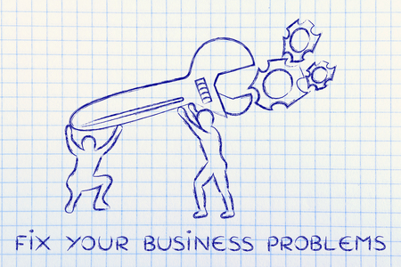 vision repair: fix your business problems: men with huge wrench repairing a gearwheel mechanism