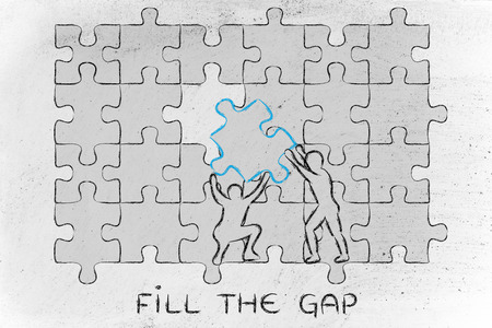 niche: fill the gap: men completing a jigsaw puzzle with the missing piece