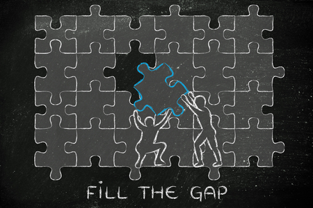 completing: fill the gap: men completing a jigsaw puzzle with the missing piece