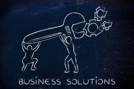 vision repair: business solutions: men with huge wrench repairing a gearwheel mechanism