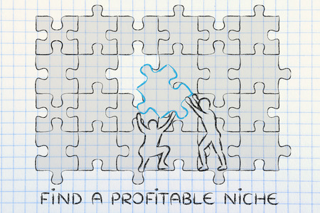 profitable: find a profitable niche: men completing a jigsaw puzzle with the missing piece