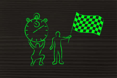 organised: men with oversized stopwatch and chekered flag: concept of busy schedule and limited time