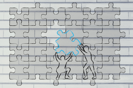 missing piece: men completing a jigsaw puzzle with the missing piece
