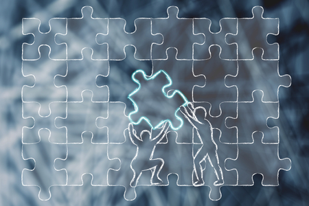 completing: men completing a jigsaw puzzle with the missing piece