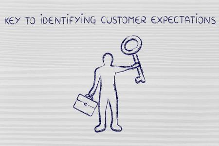 identifying: key to identifying customer expectations: business man holding giant key Stock Photo
