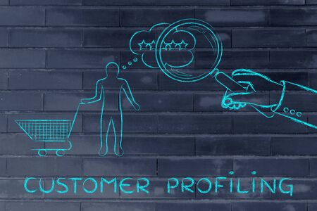 profiling: customer profiling: giant hand with magnifying glass reading clients mind
