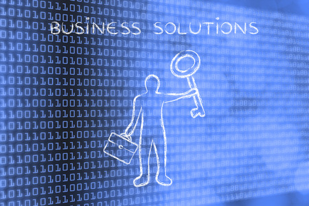giant man: business solutions: business man holding giant key Stock Photo