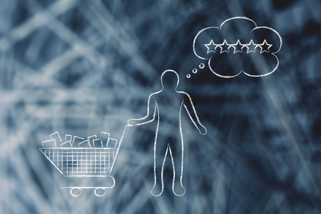 full shopping cart: customer with shopping cart full of products and comic bubble depicting his expectations