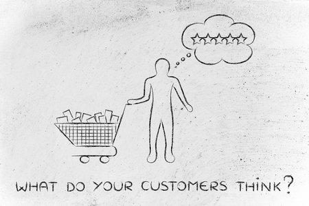 full shopping cart: what do your customers think: with shopping cart full of products & client with thought bubble Stock Photo