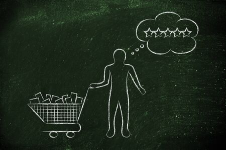 expectations: customer with shopping cart full of products and comic bubble depicting his expectations