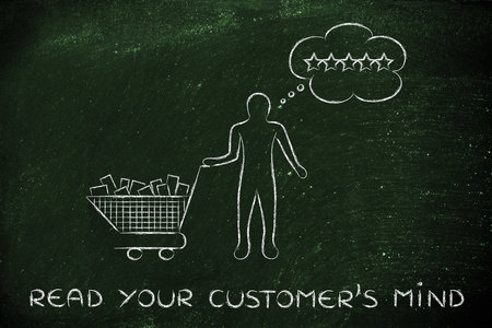 public opinion: read your customers mind: with shopping cart full of products & client with thought bubble Stock Photo