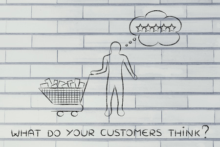 public opinion: what do your customers think: with shopping cart full of products & client with thought bubble Stock Photo