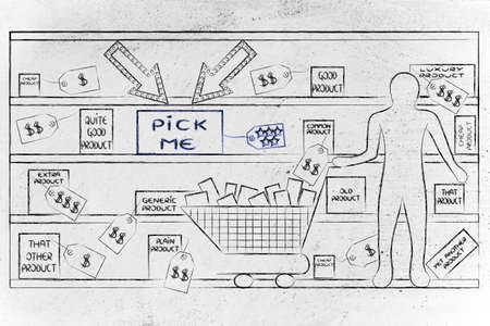 wish desire: point-of-sale marketing: customer with shopping cart in a store & pick me product standing out