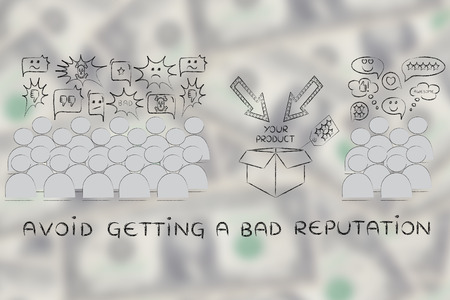 liking: avoid getting a bad reputation: most people with negative opinions about the product and a few liking it