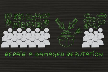 liking: repair a damaged reputation: most people with negative opinions about the product and a few liking it