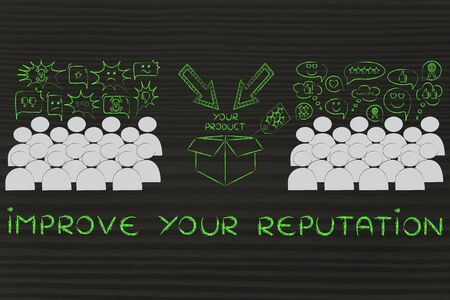 opinions: Improve your Reputation: people divided in 2 sections with opposite opinions about a product Stock Photo