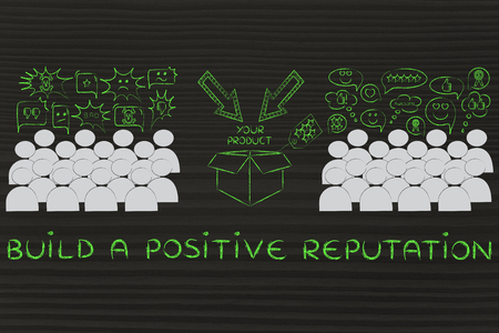 product reviews: Build a positive Reputation: people divided in 2 sections with opposite opinions about a product Stock Photo