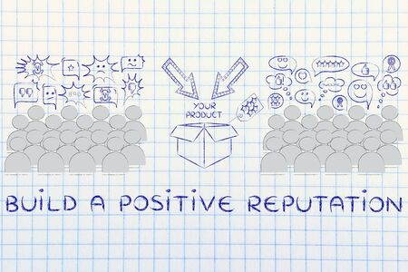 opinions: Build a positive Reputation: people divided in 2 sections with opposite opinions about a product Stock Photo