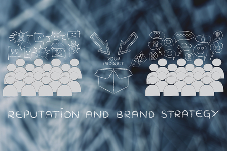 love strategy: Reputation & brand strategy: people divided in 2 sections with opposite opinions about a product