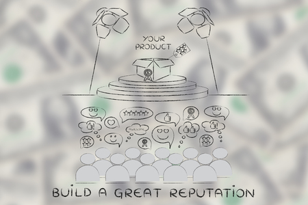 appreciating: build a great reputation: people appreciating a product on stage under spotlights