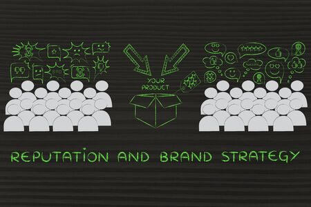 opinions: Reputation & brand strategy: people divided in 2 sections with opposite opinions about a product