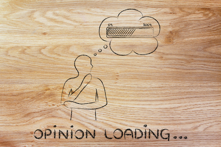 Opinion loading: person thinking with hand on his chin & progress bar in a thought bubble