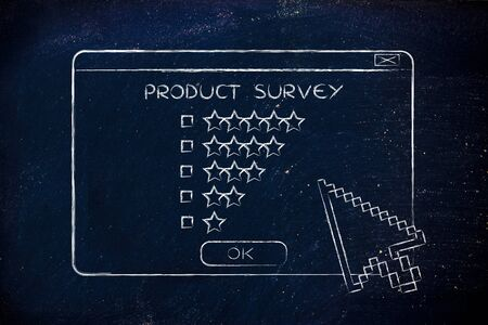 ratings: product survey: pop-up window with cursors and star ratings Stock Photo