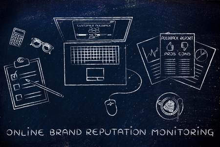 brand monitoring: online brand reputation monitoring: laptop and documents with customer feedback and strategy