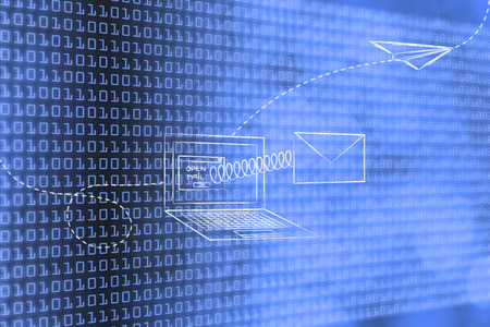 paper airplane: email coming out of laptop screen with a spring and paper airplane flying away Stock Photo