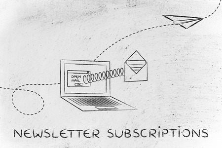 newsletter subscriptions: email envelope coming out of laptop screen with a screen Stock Photo