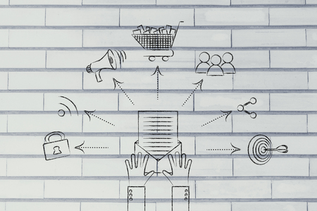 wish desire: hands holding open email with shopping cart, target, loudspeaker and sharing symbols coming out of it