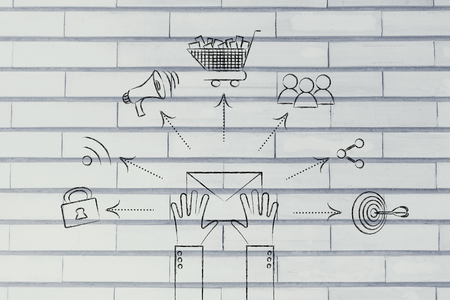wish desire: hands holding envelope with shopping cart, target, loudspeaker and sharing symbols coming out of it