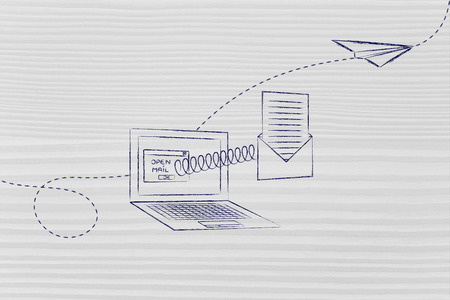 paper airplane: open email envelope coming out of laptop screen with a spring and paper airplane flying away